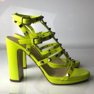 Valentino Rockstud Neon Green Studded Sandals 37